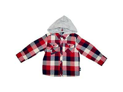 Baby Boys Hooded Checked Shirt