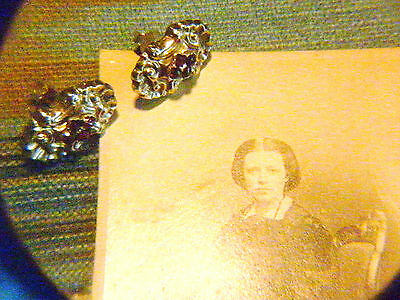 Antik Biedermeier um 1860 Granat Gold Ohrringe Ohrstecker Antique Earrings