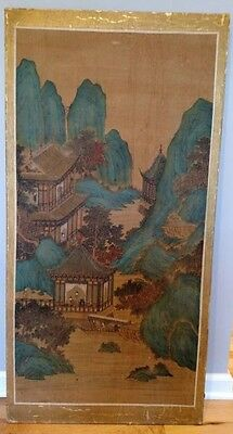 A Vintage/antique Chinese/japanese Water Color Painting On Silk