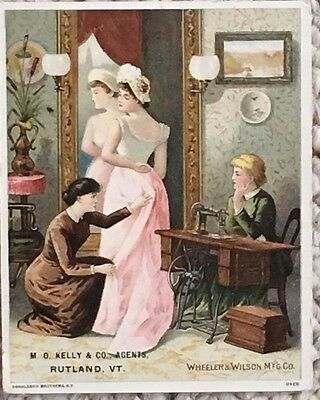 "Victorian ""Wheeler & Wilson"" Sewing Machine Trade Card 1890's Windsor Vt"