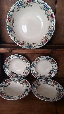 Royal Cauldon Victoria Large Bowl and 4 fruit dishes