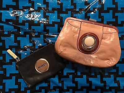 Two (2) Mimco Purses Wallets Small Button Bags Leather Black Brown Coin