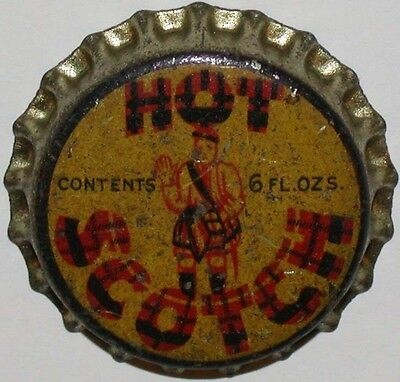 Vintage soda pop bottle cap HOT SCOTCH man pictured cork unused new old stock