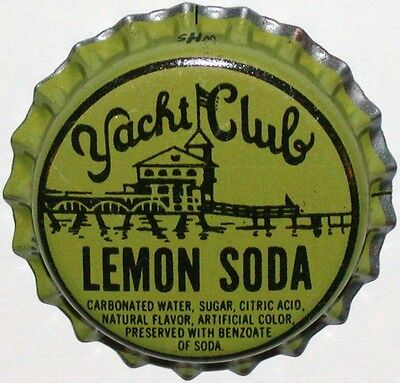 Vintage soda pop bottle cap YACHT CLUB LEMON pier pictured unused new old stock