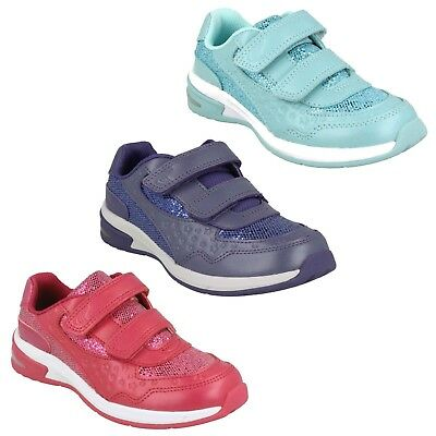 Girls Infants Kids Clarks Piper Play Hook & Loop Shoes Sports Trainers Size