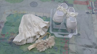 Christening baptism special occasion shoes 0-3 months + headband + sunhat ivory