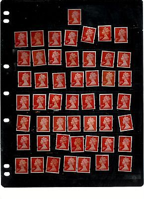 Great Britain  50  X 1St Class Unfranked   All Red Off Paper Ref 4
