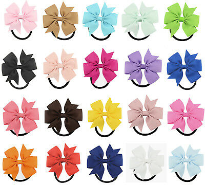 "BUY 1 GET 1 FREE 3"" 8cm Hair Bow Elastic Band Bobbles Grosgrain Ribbon Eco Girls"