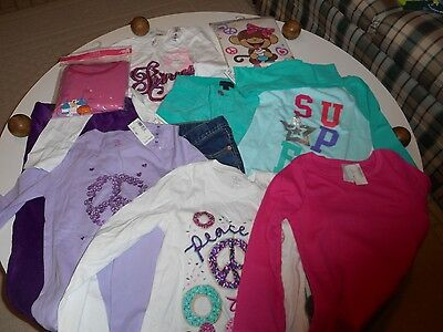 NWT The Children's Place Lot of 10 items Jeans, Pants, Tops, Pajamas Med Sz 7/8