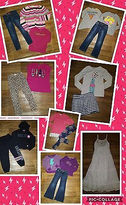 HUGE LOT OF GIRL CLOTHES size 7 7/8 slim back to school JUSTICE + MORE FREE SHIP