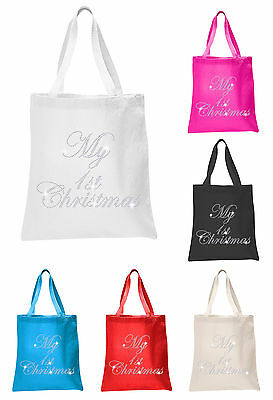 Crystal My 1st Christmas Baby Shower Tote bags personalised Favour gift bags