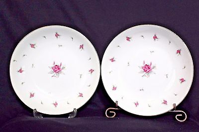 """Meito China Rosechintz Pink Floral 2 Coupe Soup Bowls  7 1/2""""  Free Shipping"""