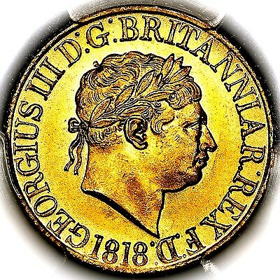 1818 King George III Great Britain London Gold Sovereign PCGS MS64+