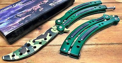 CSGO Green Camo Practice Knife Balisong Butterfly Tactical Combat Trainer NEW