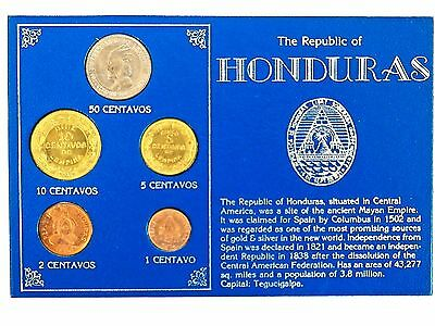 The Republic Of Honduras 5 Coins Set ( 1956-1976 ) Uncirculated ! Rare .