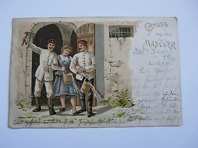 Vintage German Military Postcard:1901:Greetings from the Manoeuvres   A