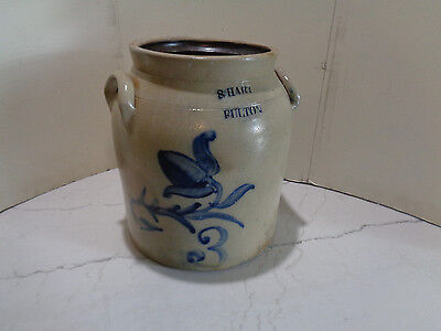 Early Stoneware Crock Storage Jar S. Hart Fulton New York 3 gal.