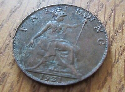 1921 Farthing coin King George V