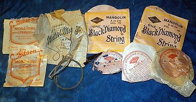 Rare Antique Lot Mandolin Guitar Strings Gibson Black Diamond National Music