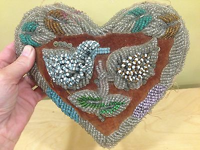 Large Native American Beaded Whimsy Heart Shaped with Bird