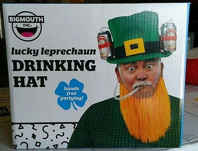 New Lucky Leprechaun Drinking Hat With Attached Beard In Original Box