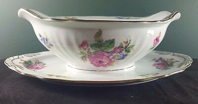 ' Bridal Rose ' Epiag Czechoslovakia Gravy Boat Attached Plate Great Condition