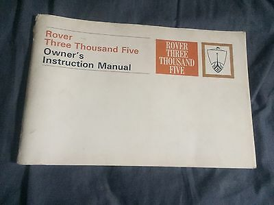 1963 Rover Three Thousand Five Original Owners Manual