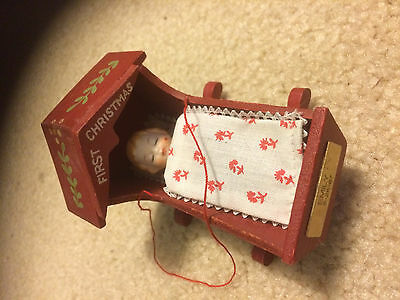 Baby's First Christmas ornament wood cradle rocker