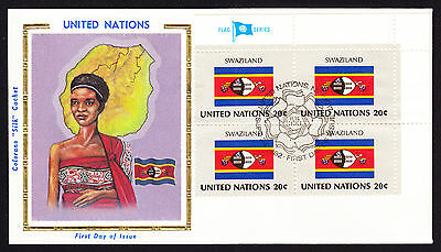 1982 UN United Nations Africa Swaziland Flag Native Person & Map cachet cover