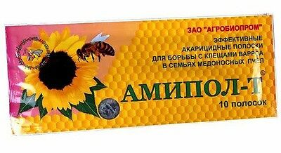 Amipol-T (10 strips) - effective kills mites Varroa Jacobsoni-effective Bee drug