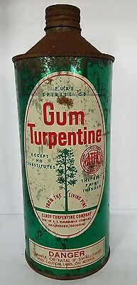 Vintage Pure Spirits of Gum Turpentine Empty Tin Can Swainsboro, Georgia