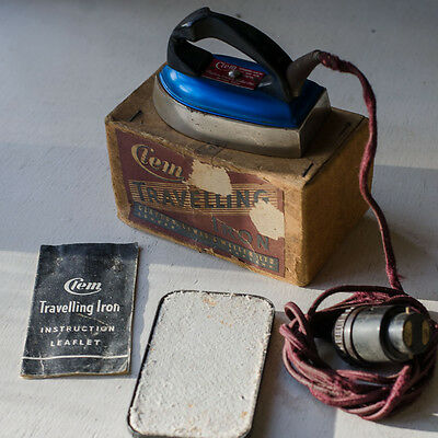 Vintage Clem Travelling Iron in blue with original box, stand and lead