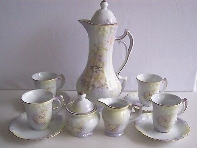 Vintage Nippon Tea Set  Red Mark Pink Yellow Green Lavender Floral Sugar & Cream