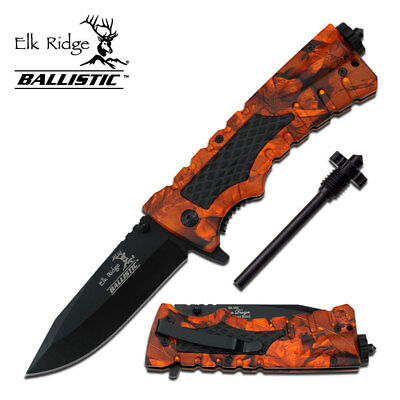 ELK RIDGE Orange Camo Fire SPRING ASSISTED OPEN Camping Folding Pocket EDC Knife