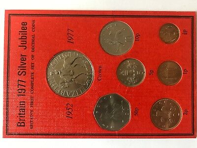 Britain 1977 Silver Jubilee First Complete Set Of Decimal Coins (1952-1977) Unc.