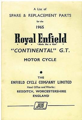 Royal Enfield Motorcycle Continental G.t Spare Parts Manual - 1965
