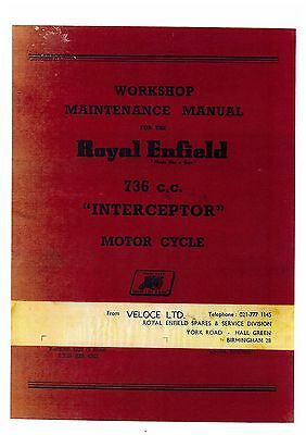 ROYAL ENFIELD INTERCEPTOR 736cc MOTORCYCLE WORKSHOP SERVICE MANUAL