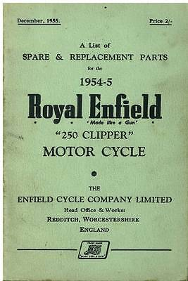 Royal Enfield Motorcycle 250 Clipper Spare Parts Manual - 1954-5