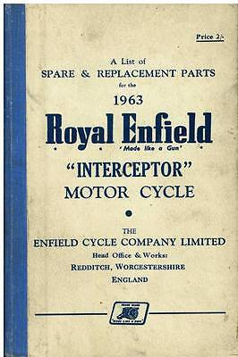 Royal Enfield Interceptor Motorcycle Spare Parts Manual 1963