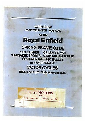 Royal Enfield Spring Frame Ohv Motorcycle Workshop Service Manual