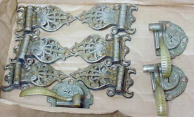 9 Vintage Ornate Ice Box Hardware With Lock(No Key)Missing Latch Ends