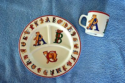 Tiffany & Company 1994 Alphabet Bears Divided Plate and Cup Set