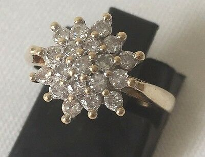 Beautiful 9 Ct 9 Carat Gold and 0.5 Carat Diamond Flower Cluster Ring SIZE J 1/2