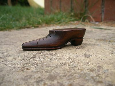 Antique Carved mahogany Shoe Snuff Box