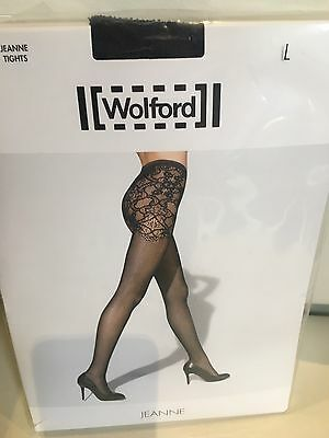 NEW Wolford Jeanne Tights size L in caviar