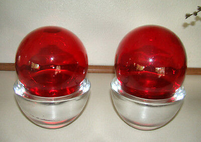 Set of 2 - RED Glass Fishing FLOAT Buoy BALLS with Heavy GLASS Display STANDS