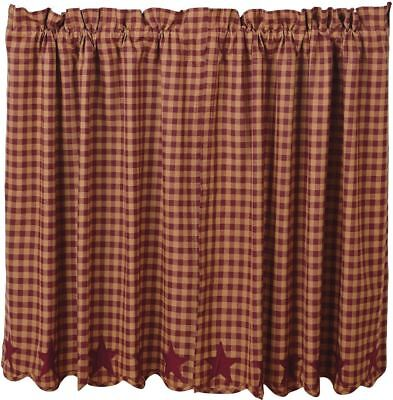 "Burgundy Star Patch Country Cafe Curtains Window Tier Set Red and Tan Check 36""L"