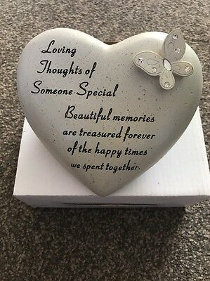 Loving Thoughts Heart Shaped Butterfly Design Resin Memorial Remembrance Grave