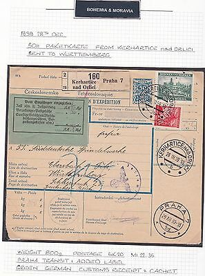Bohemia & Moravia 1939 Parcel Card Sent Kerhartice To Wurttemberg   . Ref R2041