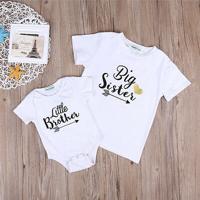 Newborn Baby Kids Family Matching Suit Big Sister T-shirt Little Brother Romper